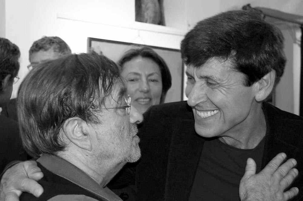 Lucio Dalla e Gianni Morandi al Teatro del Navile, giugno 2011 (foto di Andrea Salvato)