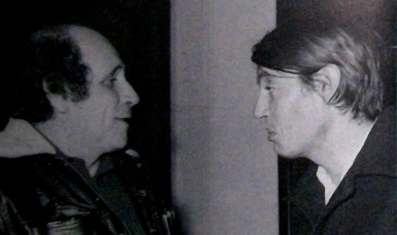Léo Ferré al Club Tenco con l'amico Fabrizio De André nel 1965
