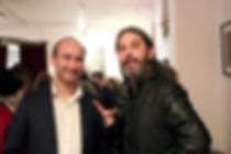 Raffaele Montanari con il cantautore Luca Bonacchi. Teatro del Navile, 10.02.2018.