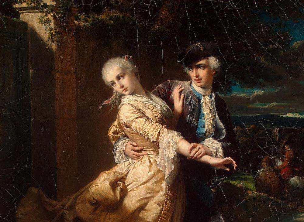 "Particolare da ""Lovelace's Kidnaping Of Clarissa Harlowe"", 1867 di Edouard Louis Dubufe"