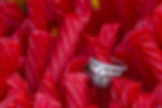 A detailed photograph of his and her wedding rings setting in a pile of red licorice