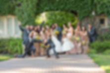 Whole bridal party striking a pose