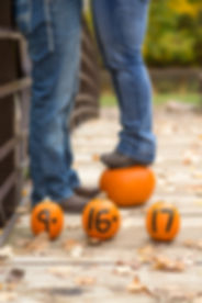 Pumpkins showing the wedding date with the bride-to-be standing on a pumpkin in the background in front of the groom-to-be