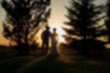 Sunset silhouette of bride and groom walking away through some trees