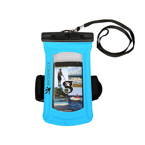 Float Phone Dry Bag With Arm Band - Neon Blue