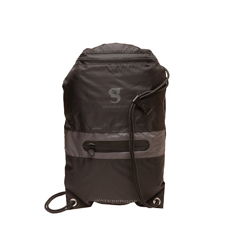 Drawstring Waterproof Backpack with Zip Pocket - 2 Colors