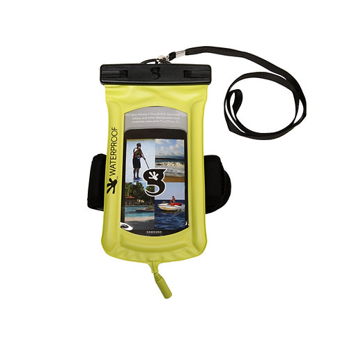 Float Phone Dry Bag With Audio Cord / Arm Band - Neon Green