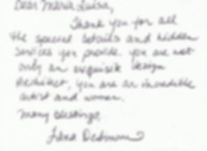 It is a personal handwritten note from a client