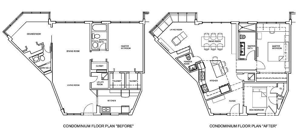 Before and After Floor Plans of a Miami Beach Remodeling Project by United Architects