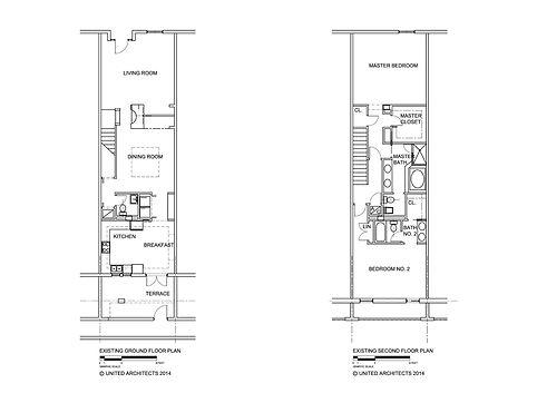 """Before"" floor plans to a 2-story condominium"