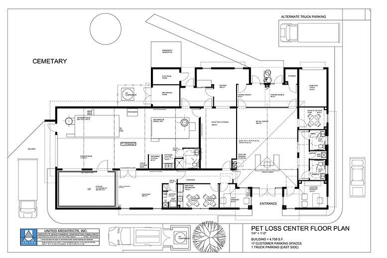 Pet Loss Center, an industrial building, Floor Plan