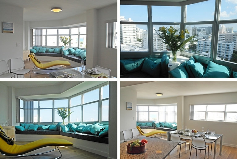 Several views of the remodeled apartment interiors by United Architects