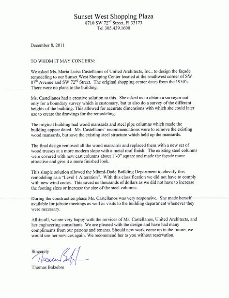 Letter of reference by owners of Sunset West Shopping Center