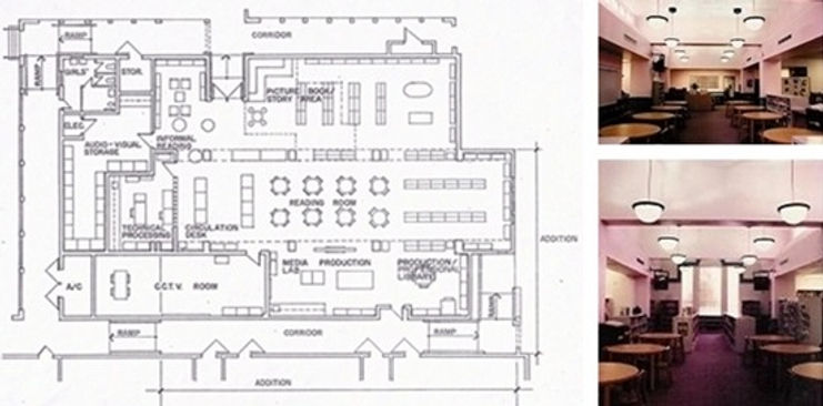 Floor plan and interiors of the media center