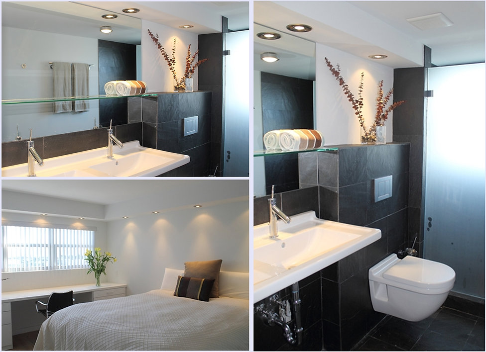 Two views of the bathroom and the bedroom