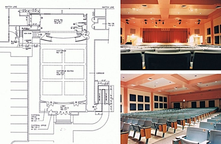 Two views of the remodeled auditorium and the floor plan