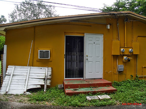 """""""Before"""" photos of side view of house"""