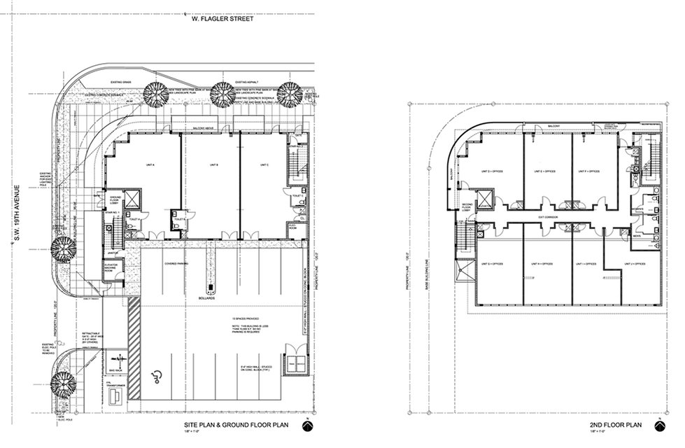 These are the floor plans of the retail on the ground floor and the offices on the 2nd floor by United Architects