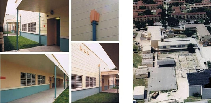 Several views of the new classrom addition building and the building during construction