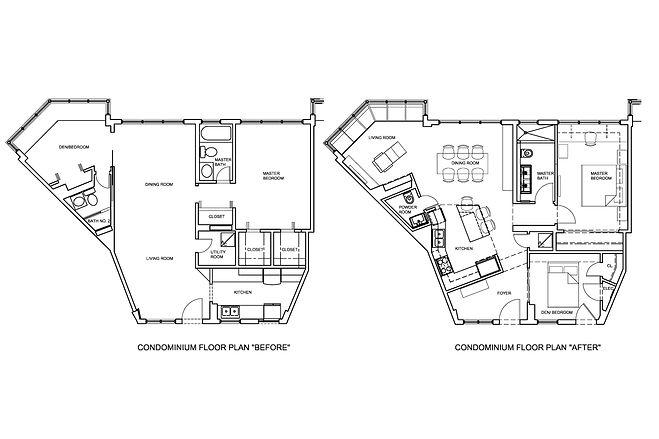 Before and After floor plans of a remodeled apartment in Miami Beach