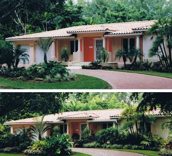 View of front facade and driveway after remodeling