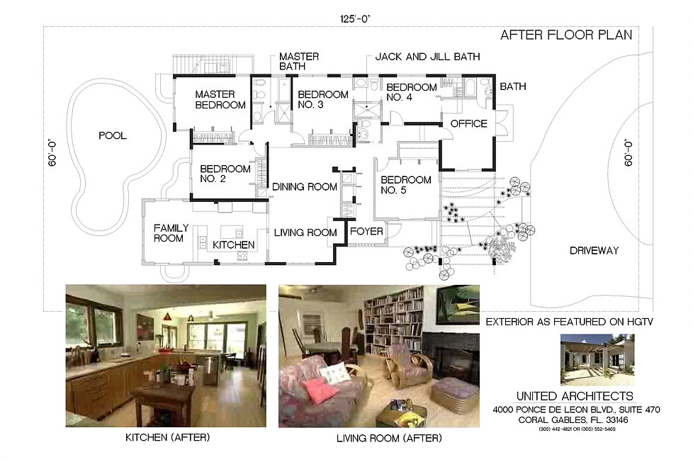 """This is the """"after"""" floor plan and photos of interiors"""