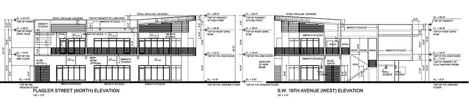 These are the elevation drawings of the mixed-use building