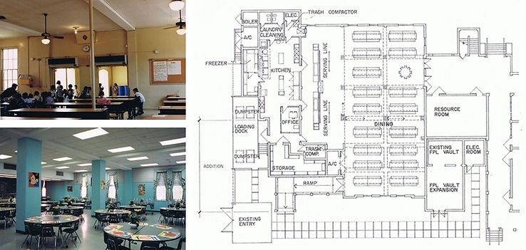 Floor plan and interiors of cafeteria