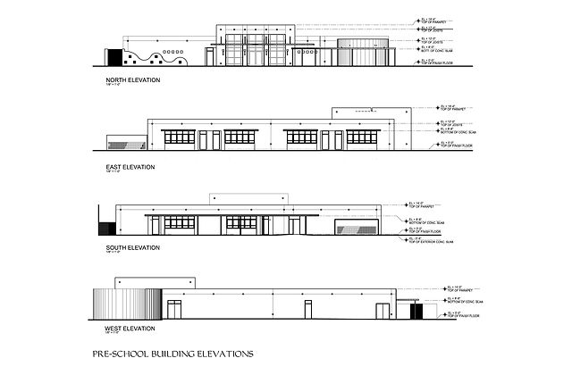 Drawings of the 4 elevations of the pre-school