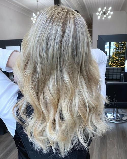 Beautiful creamy vanilla blond!! She had