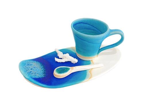 うるま陶器 カップ&ソーサー サーフ
