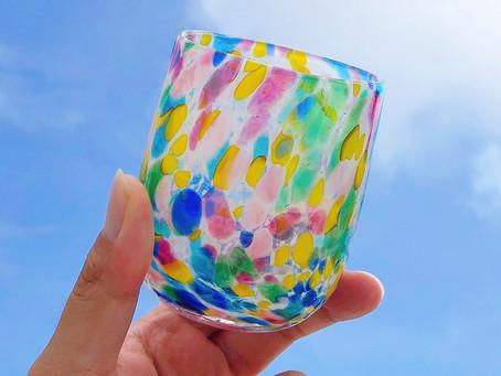 琉球ガラス 源河源吉 パレット銀盃 入荷致しました