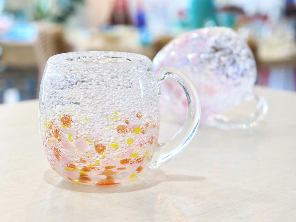 琉球硝子 煌工房 気泡の海たるグラス 取手付  琉球ガラス 沖縄 宮古島 やちむん 人気 かわいい おすすめ 通販