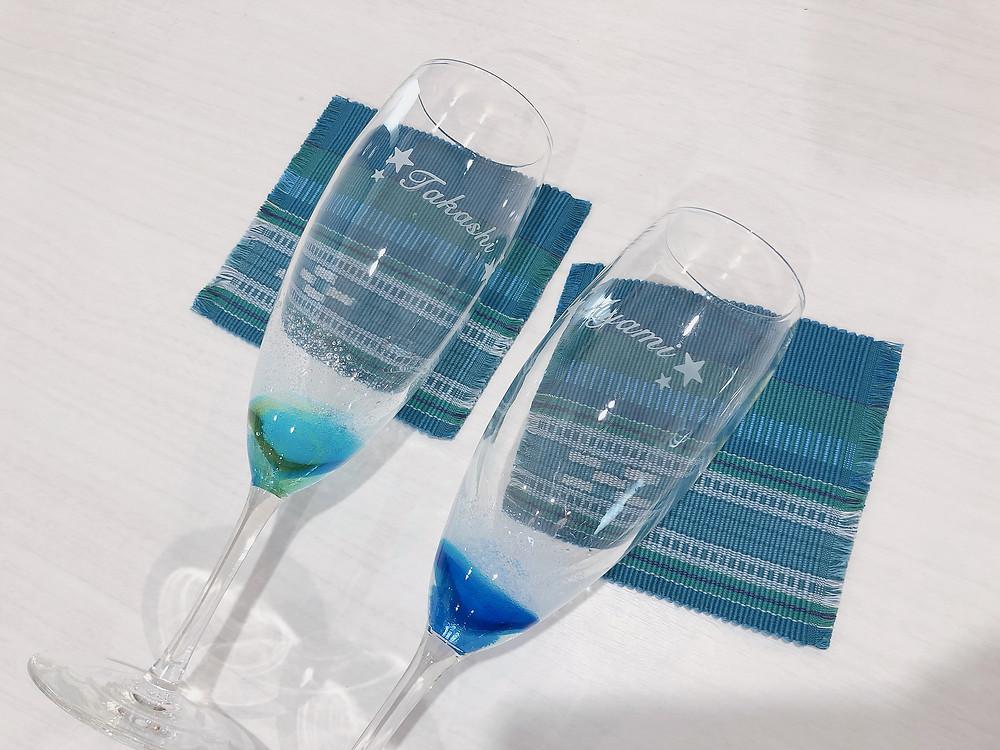 琉球ガラス 潮騒シャンパングラス