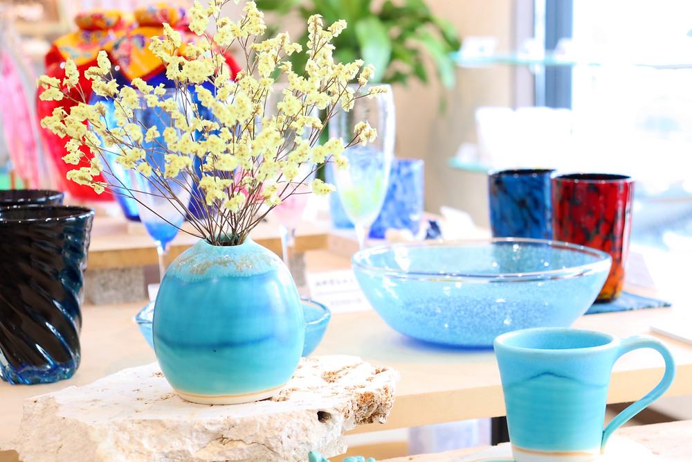 うるま陶器 海の卵 花器 やちむん 人気 かわいい 通販 おすすめ