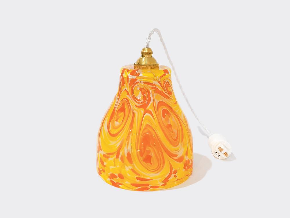 琉球ガラスペンダントライト (ランプシェード) オレンジ