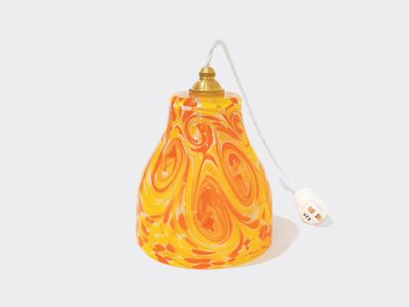 当店オリジナル!おしゃれで可愛い 琉球ガラスペンダントライトオレンジ