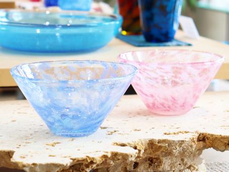 琉球ガラス水中花小鉢 青入荷