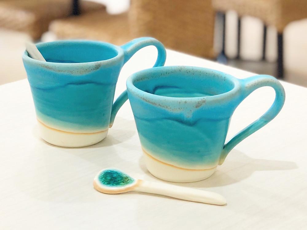 うるま陶器 マグカップスプーンセット(ブルー) やちむん 沖縄 宮古島