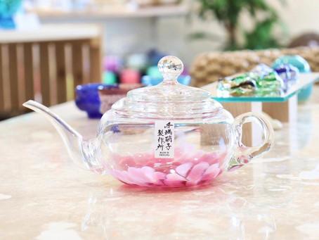 琉球ガラス 桜花急須