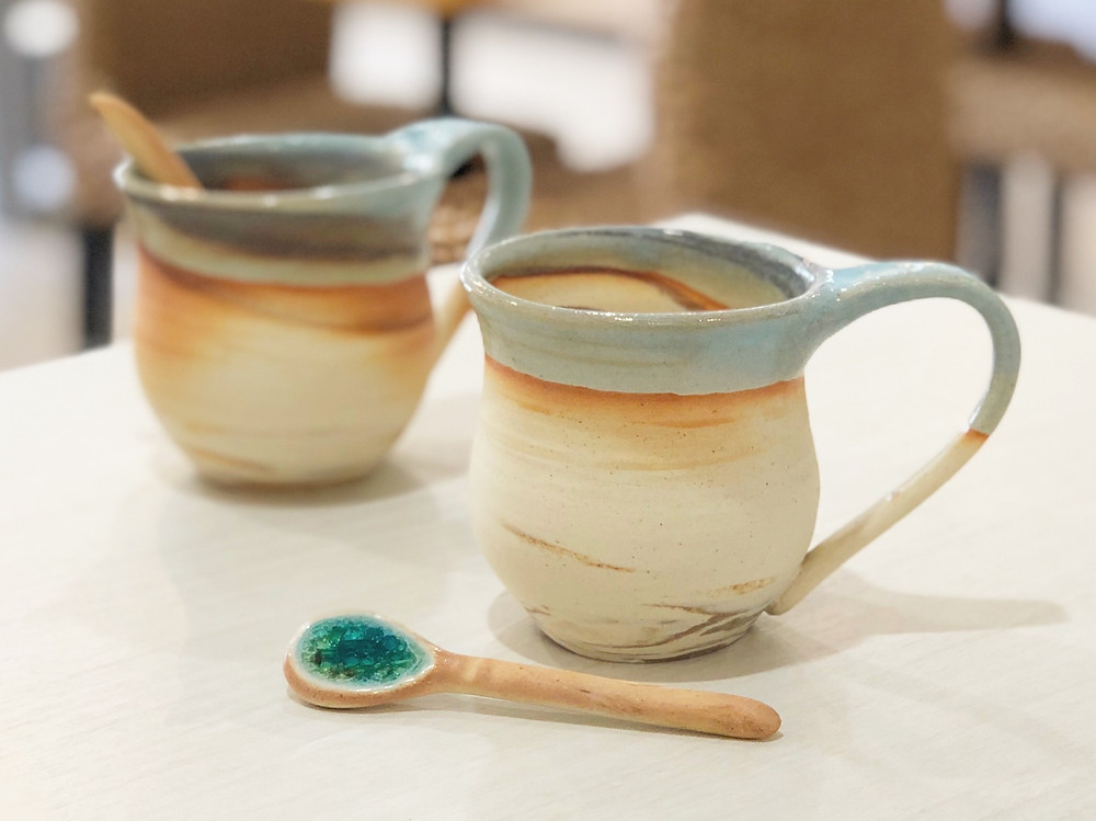 うるま陶器 マグカップスプーンセット(マーブル) 値段 通販