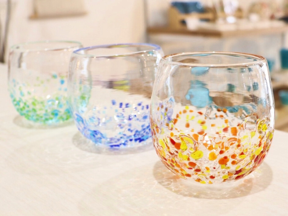 琉球ガラス つぶつぶ丸グラス  琉球ガラス やちむん 人気 オススメ 可愛い 通販 宮古島