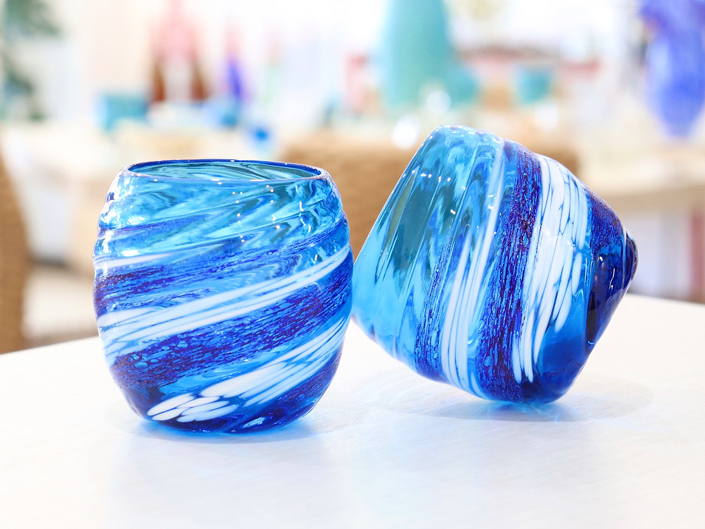 琉球ガラス 荒波コバルトたる 琉球ガラス やちむん 人気 かわいい おすすめ 沖縄 宮古島 通販 かっこいい おしゃれ