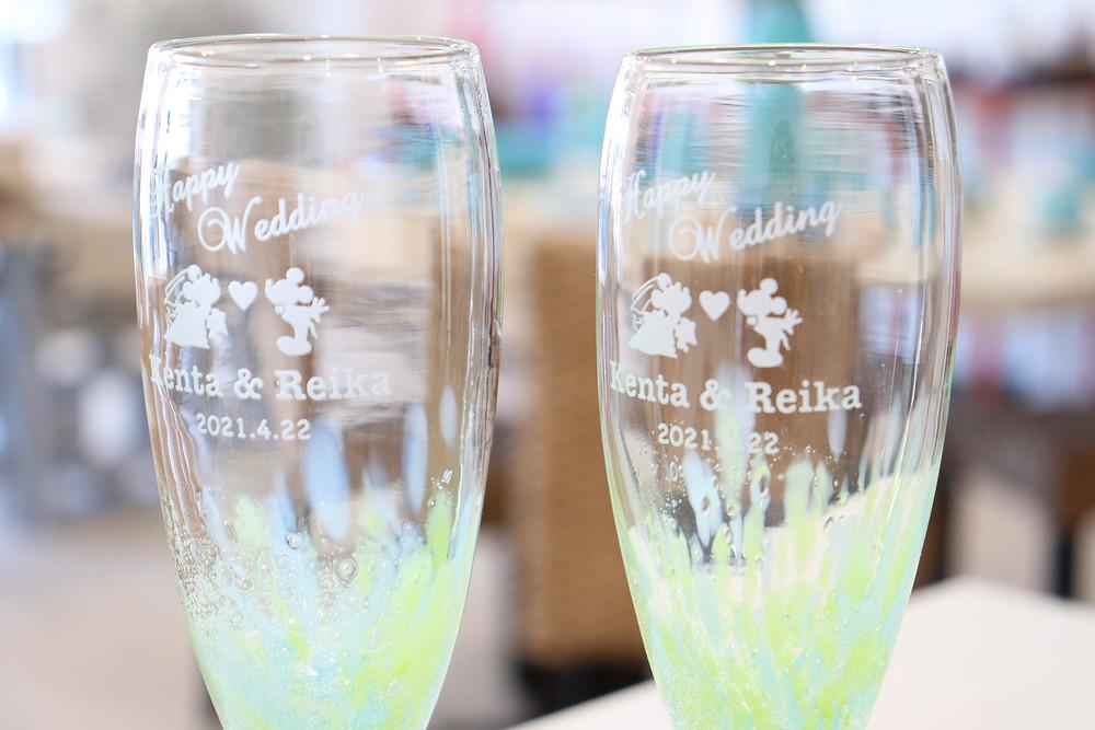 名入れ琉球ガラス 水中花シャンパングラス 琉球ガラス やちむん 可愛い 人気 おしゃれ 通販 宮古島 おすすめ