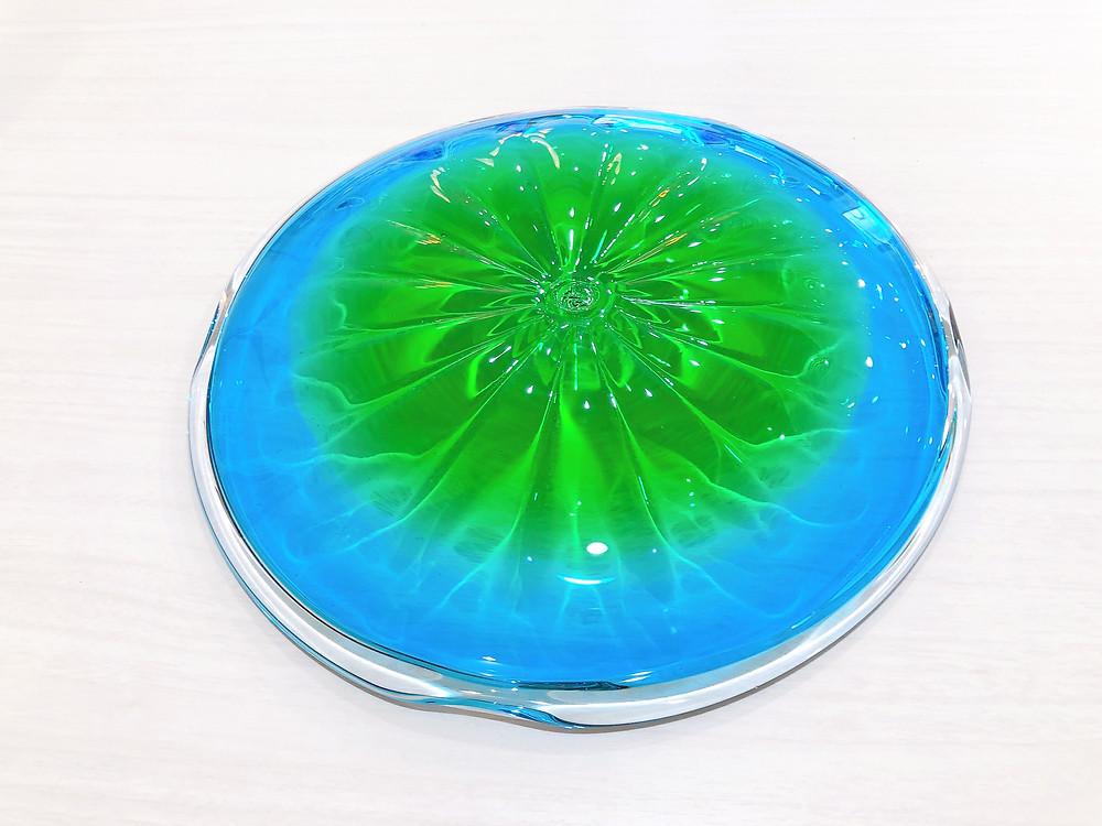 琉球ガラス 珊瑚の海 緑皿 可愛い 人気 沖縄 宮古島