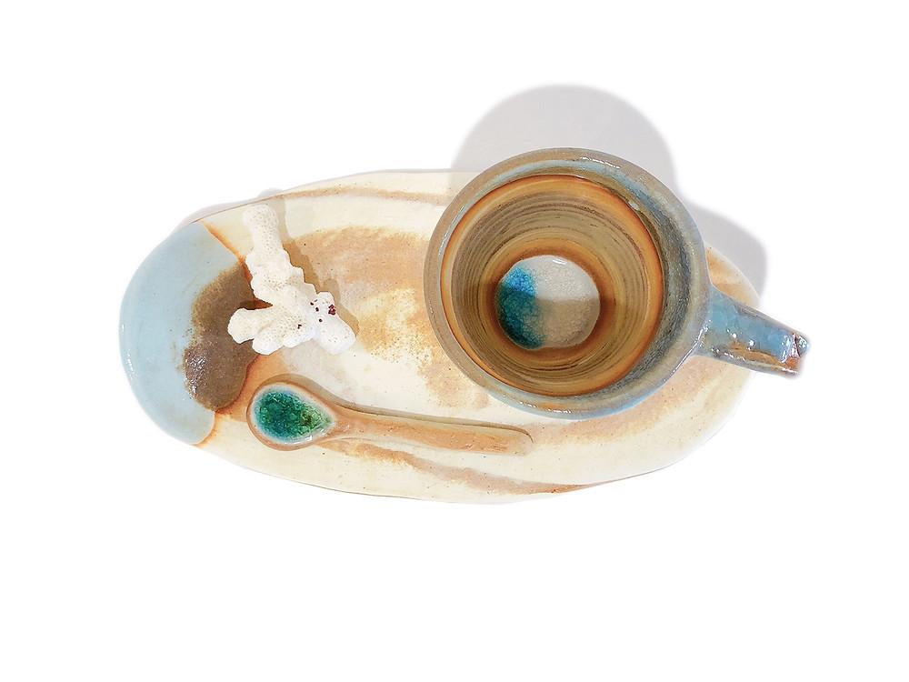 うるま陶器 カップ&ソーサー / マーブル 琉球ガラス やちむん 通販 値段 青い器 海の器 可愛い おしゃれ