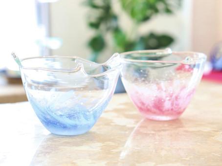 琉球ガラス 水中花ミニ小鉢入荷