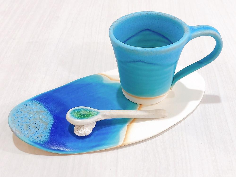 やちむん うるま陶器 カップ&ソーサー 琉球ガラス やちむん 人気 オススメ 可愛い 通販 宮古島