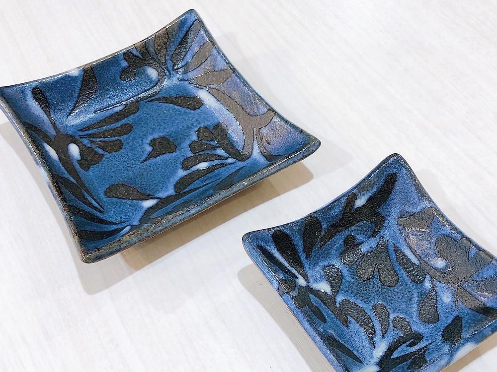 陶眞窯 藍色 四角皿 人気 かわいい 通販 おすすめ