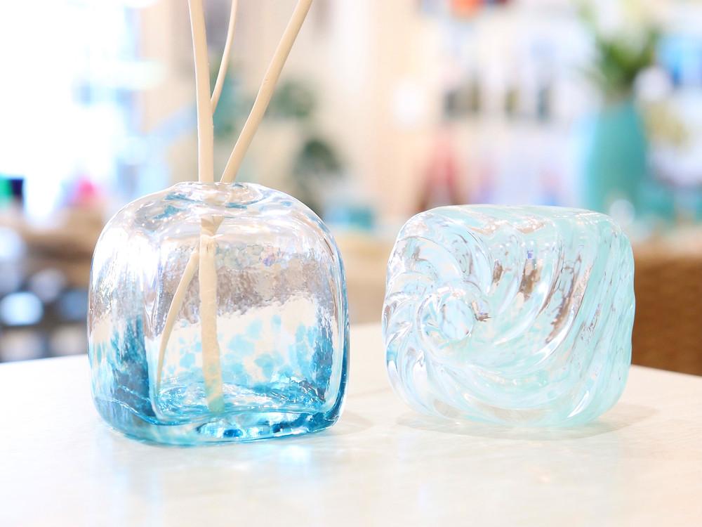 琉球ガラス  キューブ型一輪挿し 琉球ガラス やちむん 人気 かわいい おすすめ 沖縄 宮古島 通販 かっこいい おしゃれ